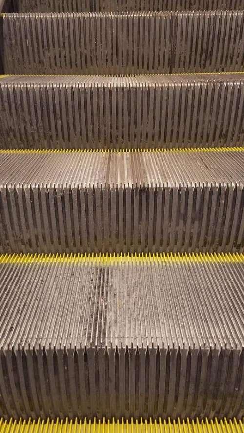 Stairs metal industrial mechanical escalator