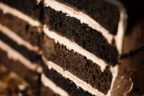 Layers in Homemade Cake Close Up