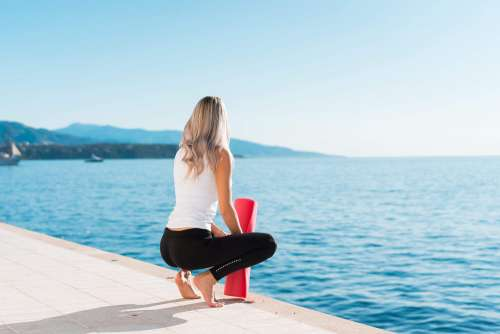 Woman Ready to Start Morning Yoga