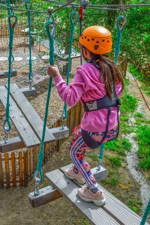 Adventure Park Ropes Girl Adventure Climb Courage