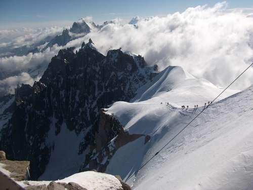 Aiguille Du Midi Mont Blanc Mountain Alps Landscape