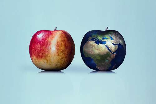 Apple Earth Globe Comparison Nature Renewable