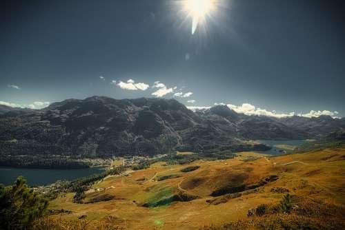 Autumn Mountains Landscape Sun Hiking Engadin