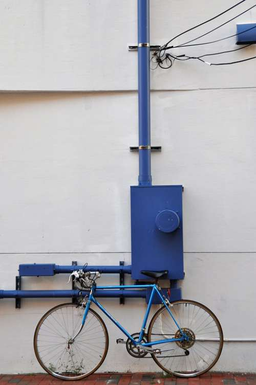 Bike Hauswand Blue Facade Wall Road Bike
