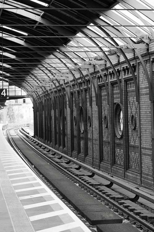 Black And White Railway Station Berlin Travel