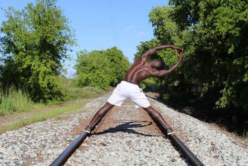 Black Man Male Muscles Train Track Workout Strong