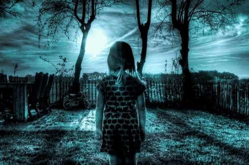 Blue Girl Sad Depressed Sky Yard Shades Of Blue