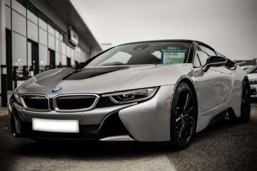 Bmw I8 Roadster Hybrid Car Overcast Afternoon