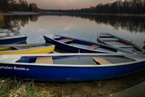 Boat Lake Canoeing Nature Landscape Rest