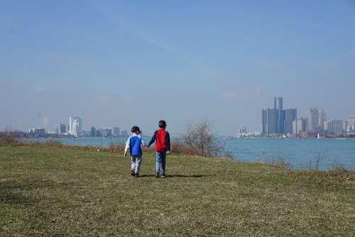 Brothers Boys Detroit Walking Belle Isle
