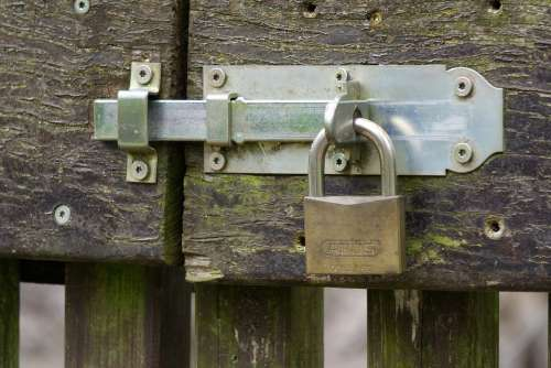 Castle Padlock Bolt Closed To Iron Metal Door
