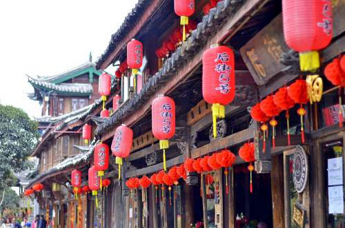 China Tourism Chinese Lamps Red Lijiang Yunan