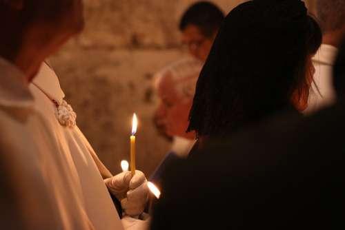 Church Priest Candle Religion Faith Light