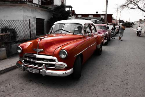 Classic Auto Cuba Classic Vehicle Cars Red