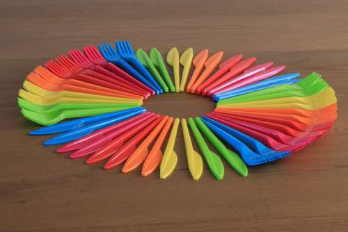 Cutlery Forks Knives Disposable Plastic Colorful