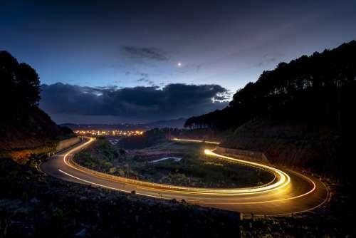 Dalat Vietnam Street Airport Mountain Night Light