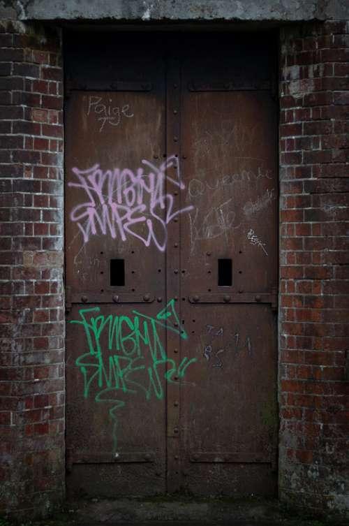 Door Derelict Abandoned Graffiti Prison Doorway