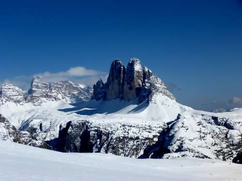 Drei Zinnen Winter Südtirol Outdoors Landscape