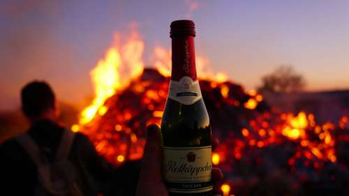 Easter Fire Champagne Human Man Hand Woman