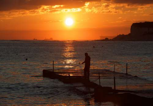 Fisherman Sunrise Sunset Nice Evening Sea Fishing