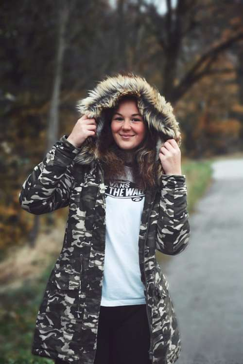 Girl Winter Jacket Hood Cute Sexy Smile Woman