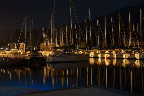 Harbor Night Sailboat Reflection Lake Garda Water