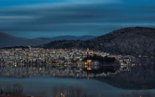 Kastoria Greece Town Nature Cold Landscape White