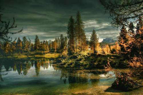 Lago Federa Dolomites Alpine Mountains Landscape
