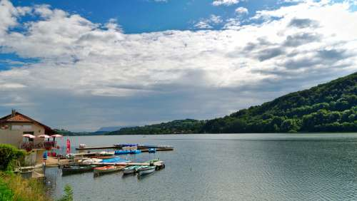 Lake Paladru Charavines Boats Boat Landscape