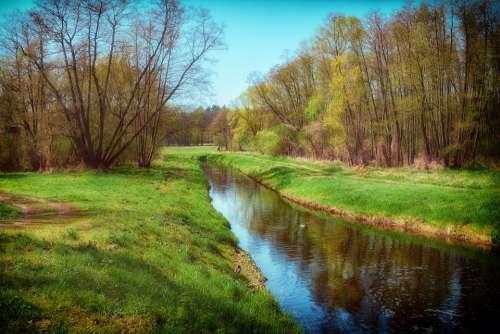 Landscape Nature River Mill Flow Trees