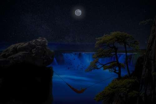 Manipulation Hammock Woman Cliff Moon River Birds