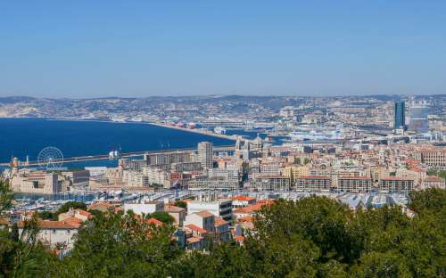 Marseille City Panorama Sea Provence Water Sky
