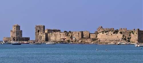 Methoni Castle Greece Fortress Old Coast Building