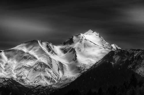 Mountain Peak Bw Landscape Nature Summit Top Sky