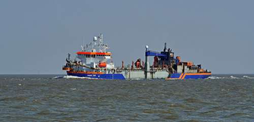 Mouth Of The Elbe River North Sea Working Ship