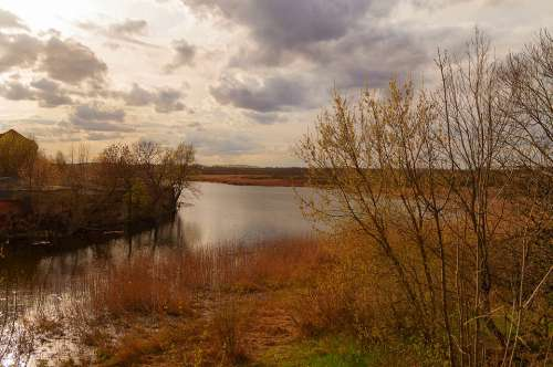 Nature Landscape River Clouds Amenca Water Autumn