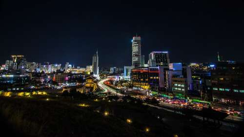 Night City Seoul Travel Korea Sky Modern Light