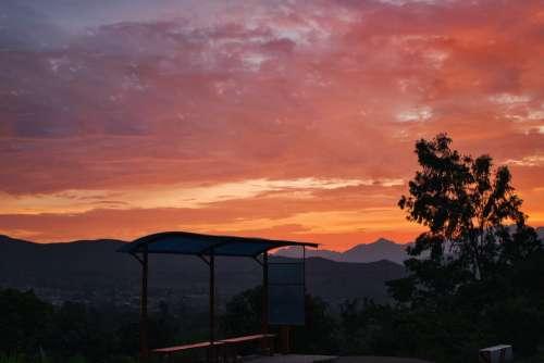 Otuzco Sunset Landscape Sun Clouds Horizon