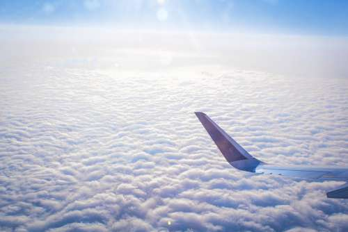 Plane Flight Travel Soft White Blue Airplane Sky