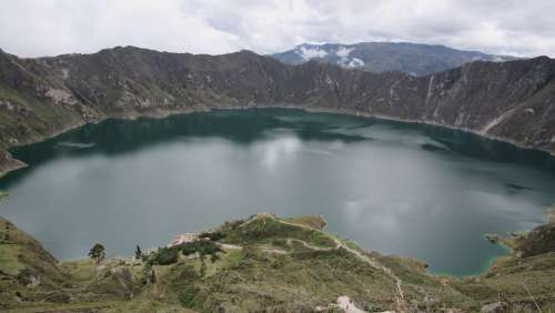 Quinotoa Laguna Lake Ecuador Nature Volcano