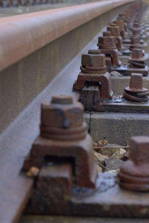 Railway Rails Gleise Screw Rust Steel Train