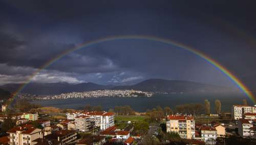 Rainbow Kastoria Greece Lake Nature Water Flying