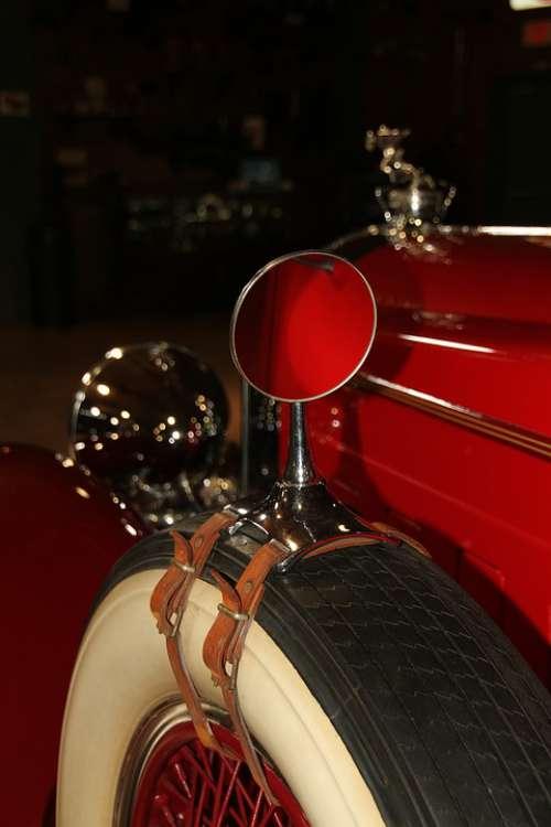 Rear Views Mirror Tire Car Part Old Vintage