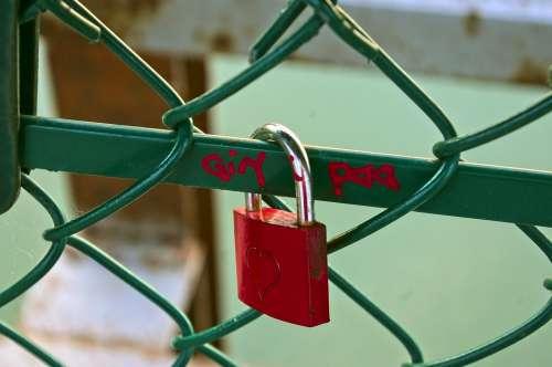 Red Love Lock Love Padlock Heart Friendship Lock