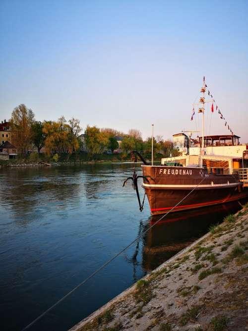 River Danube Ship Boat Germany Regensburg Bavaria