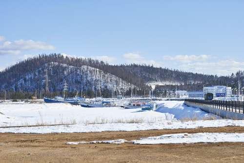 Russia Siberia Landscape Lake Winter Snow Ice