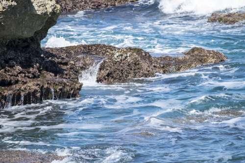 Sea Costa Mediterranean Puglia Italy Rocks Nature