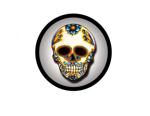 Skull Circle Colorful Day Dead Symbol Mexico