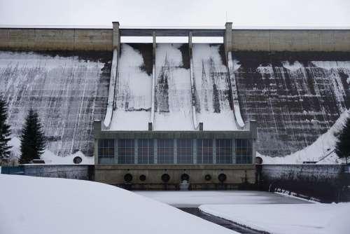 Snow Dam Winter Reservoir Nature Barrier Wall