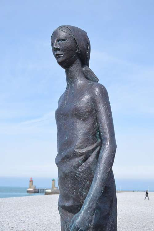 Statue Bronze Sculpture Woman Face Fécamp Beach